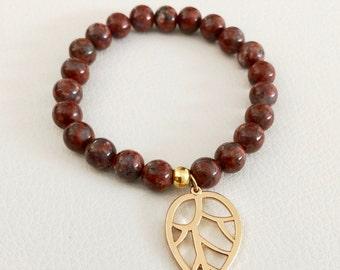 Leaf charm bracelet, leopardskin jasper beaded bracelet, fall inspired bracelet