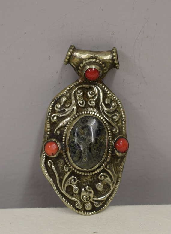 Pendant Silver Turritella Agate Silver Coral Pendant  Handmade Necklace Jewelry Pendant Red Coral Agate Unique Statement