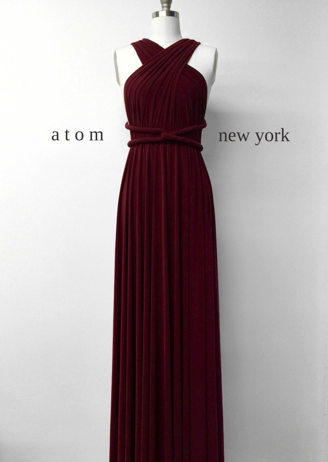 Burgundy Wine Red LONG Floor Length Ball Gown by AtomAttire