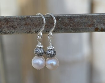 Pearl and sterling silver earrings,fresh water pearls, Balinese silver, pearl earrings, dangle earrings, gift for her