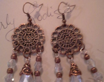 Antique Copper and Crystal Earrings. E 213
