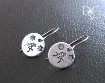 Snowmen Earrings - Christmas Earrings - Hand Stamped Earrings - Holiday Earrings - Winter Earrings - Snowflake Earrings - Cute Earrings