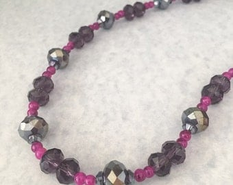 SALE - Purple beaded necklace, purple necklace, beaded necklace