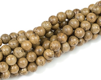 Wenge Wood. 6mm or 8mm or 10mm Round. Full Strand