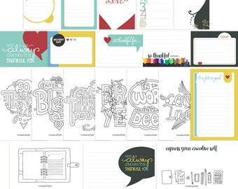 So Thankful digital printable pocket journal and colouring in planner cards (jes0310)