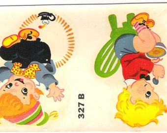 Vintage Duro Baby Decal Jack Over Candlestick & More Nursery Rhyme Retro 327B