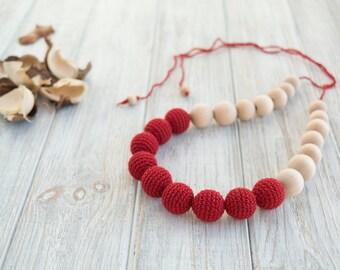 Crochet nursing necklace, Eco friendly jewelry for mom