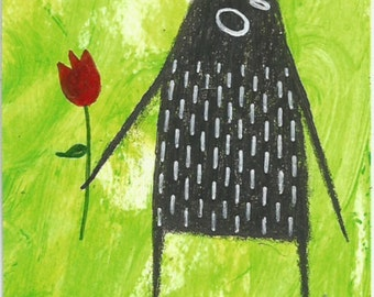 ACEO ORIGINAL Outsider Art Miniature Romantic Monster Collectible Trading Card Mixed Media Whimsical Folk Creature Drawing Weird Flower Rose