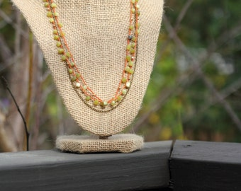 Olive Green Jade and Faceted Raw Brass Crochet Necklace, Jade on Rust Cotton Cord and Antique Brass Chain, Layered Necklace, Multistrand