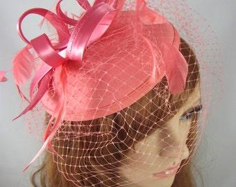 Coral Pink Felt Hat Fascinator With Satin Loop & Birdcage Veil - Wedding Races