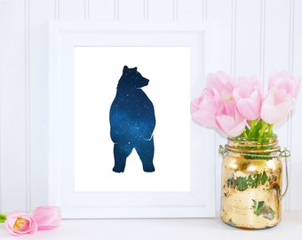 Bear Print, Night Sky Printable Wall Art, Stars Art, INSTANT DOWNLOAD, Woodland Creatures, Woodland Nursery Decor, Constellations, Bear