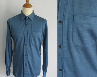 Mens blue shirt, thick cotton, long sleeve, French 70s vintage retro, traditional fit, large, 42
