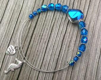 Seahorse Bracelet, Silver Seahorse Bangle, Seahorse Charm, Beaded Bangle, Silver Seahorse, Blue Seahorse Bracelet, Silver Charm Bracelet