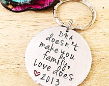 Stepfather Gift, Adoption Gift, Gift for Step Dad, Step Parent Keychain, Hand Stamped Keychain, Personalized Keychain, DNA Jewelry