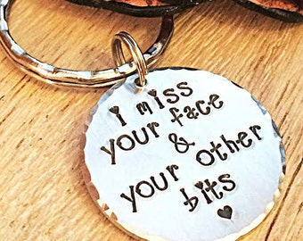 Long Distance Boyfriend Gift, Long Distance Relationship, Long Distance Gift, Long Distance Keychain, I  Miss Your Face, Gifts for Men