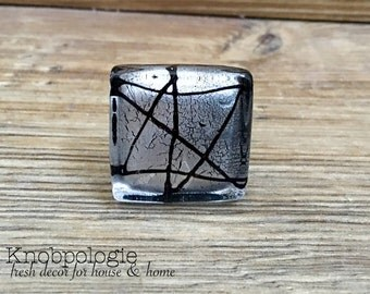 Silver and Black Abstract Art Glass Square Knob - Modern Drawer Pull - Stained Glass Decorative Knob - Art Deco Cabinet Decor