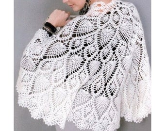 Crochet cape PATTERN, crochet capelet PATTERN, cape with pineapple motifs, CHART and basic instructions in English, chart rows not written!