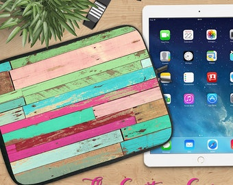 Reclaimed Wood Neoprene Ipad Sleeve, Distressed Wood in Turquoise and Pink Ipad Sleeve, Ipad 2/3/4, Ipad Air, Tablet Travel Case