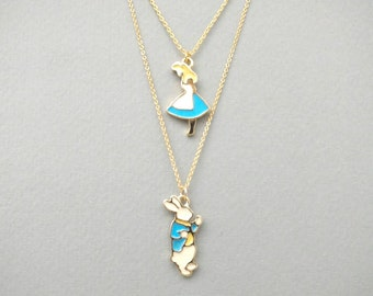 Double layered, Alice in wonderland, Gold, Chain, Necklace, Blue, White, Alice, Rabbit, Birthday, Lovers, Friendship, Gift