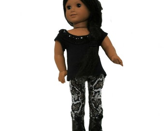 Black Embellished T-shirt, Animal Print Knit Leggings, Brown Booties for 18 Inch Dolls such as American Girl, Our Generation, Mme Alexander