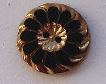 Set of Three Ornate  Victorian Czech Black and Gold Floral Buttons 22mm #98