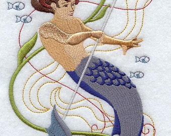 Enchanted Merman Embroidered Cushion Cover Embroidered Pillow 100% cotton