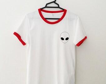 Alien Shirt Pocket Tee Ringer T Shirt Tumblr Shirt for teens teenage girl clothes gifts Graphic Tee Women T-shirts