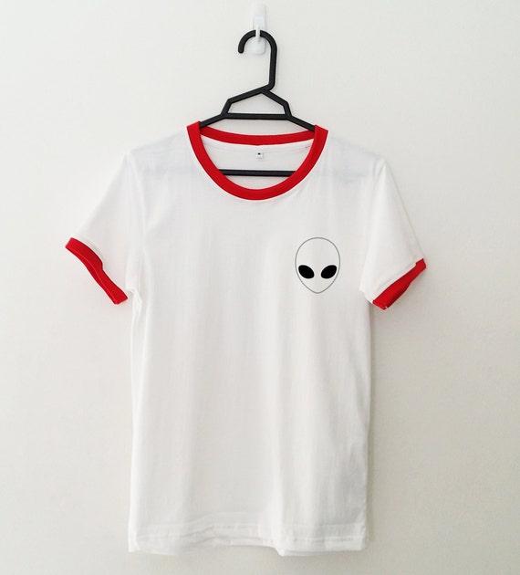 Alien Shirt Pocket Tee Ringer T Shirt Tumblr Shirt For Teens
