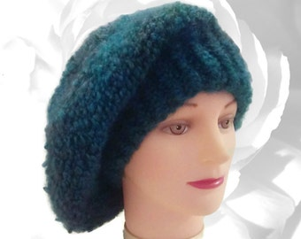 Blue Hat, Teal Hat, Green Hat, Red Hat, Blue Green Hat, Teal Slouchy, Multicolor Hat, Winter Hat, Fuzzy Hat, Chunky Hat, French Beret