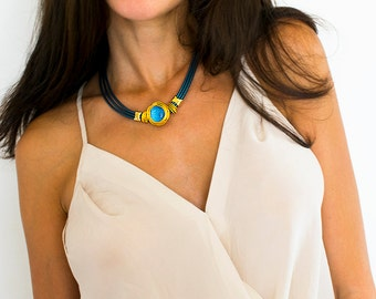 Gold Necklace For Women, Statement Necklace, Choker Necklace, Blue Leather necklace, Gold Wire necklace, Stone necklace, Bridesmaid necklace