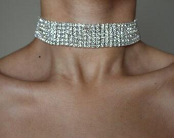 NICE Diamond Choker ~ Rhinestone Choker ~ Silver Choker
