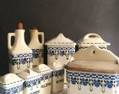 Vintage Canister Set/ Vintage Kitchen Canister Set/ Czech Ceramic Canisters/ Vintage Salt Box/ Spice Canisters/ Blue and White Canisters
