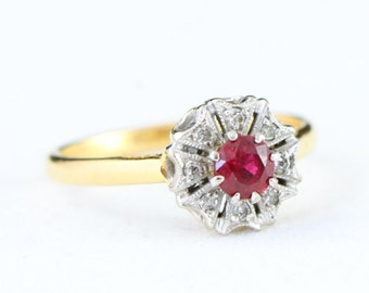 Edwardian ruby and diamond engagement ring in 18 carat gold and platinum antique