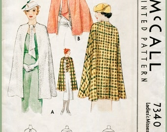 1930s 30s Vintage Sewing Pattern Cape Shawl Evening or Day Size Small Bust 32 - 34