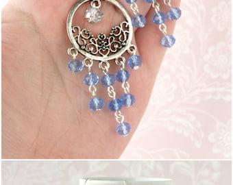 Crystal chandelier earring Blue chandelier earring Long dangle earring Light blue earring Blue crystal earring Blue beaded earring