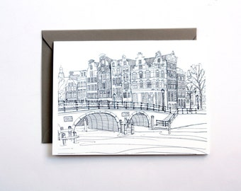 Amsterdam card, city skyline pen and ink line drawing printed card travel illustration black and white
