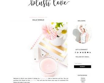 """NEW! Blogger Template Mobile Responsive - Instant Digital Download - Complete Blog Design -""""Blush Love"""""""