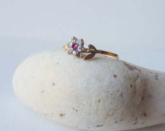 Gold Ruby and Cubic Zircon Ring, Vintage 14kt Gold Ring, 14k Flower Ring, Size 7 Zircon Gold Ring, Girls Jewelry, Retro Ring, 70's Jewelry