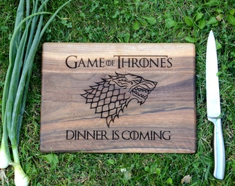 Game of Thrones gift Wooden Cutting Board House Stark Dire Wolf Winter is coming Chopping board Custom Personalized cutting board Kitchen