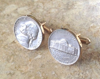 Vintage 1963 Coin Nickel Hickok Cuff Links in Gold Tone
