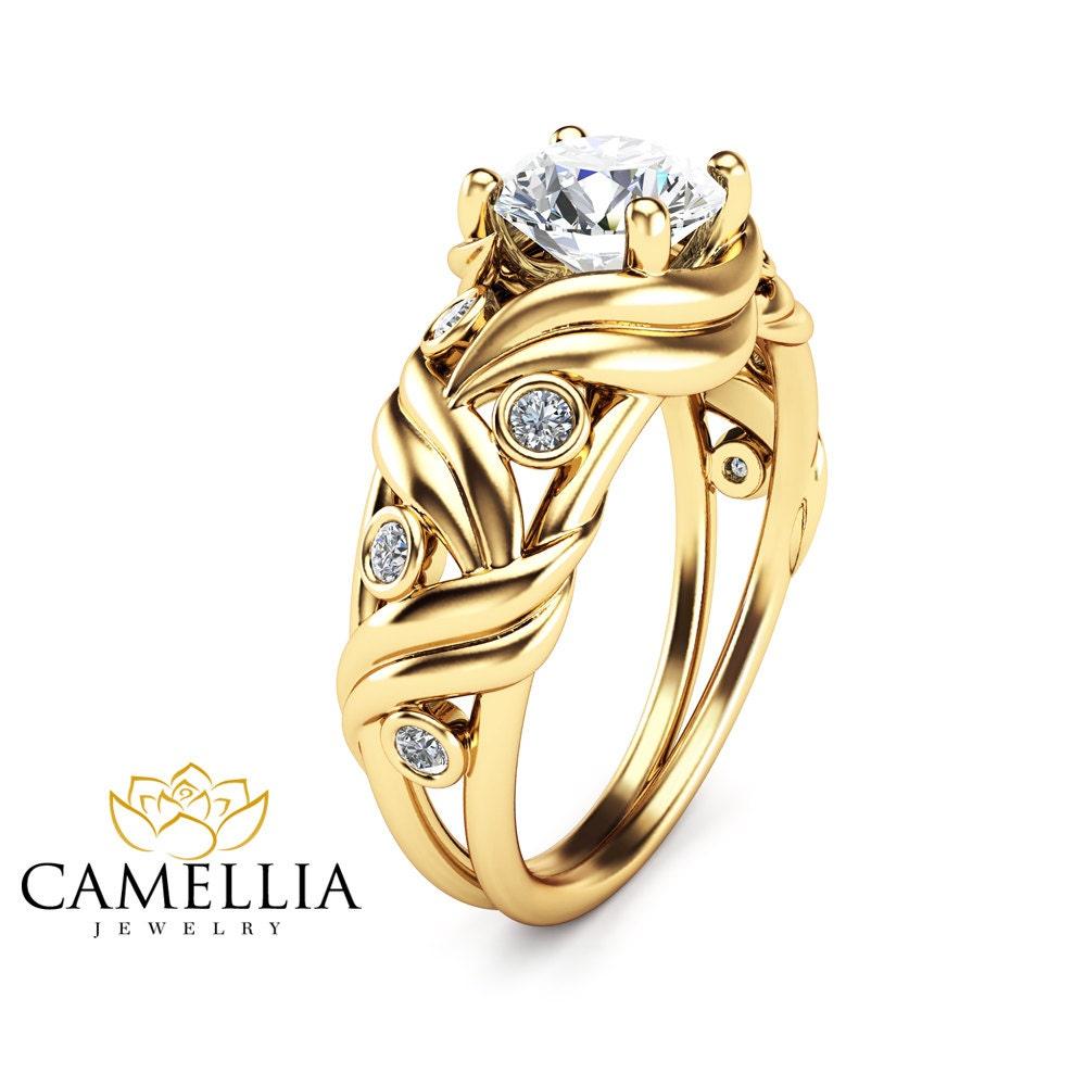 14k yellow gold moissanite engagement ring wedding band