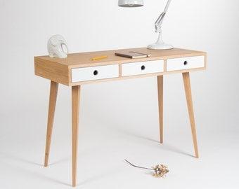 Work desk, computer desk, office desk, mid century, white drawers, scandinavian design