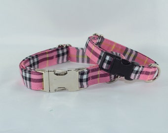 Bubblegum Pink Plaid Tartan Dog Collar - Martingale or Buckle, Personalized, Engraved, ID Buckle