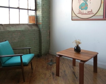 Solid Teak Danish End Table with Exposed Joinery
