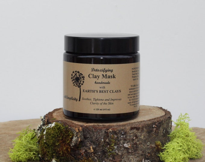 Clay Mask with Dead Sea Clay  4oz  glass jar,  Rhassoul Clay, Soothing, Tightens ,  Vegan, Minimizes Pores, Reduces Wrinkles