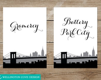 Printable New York City Table Numbers • NYC Wedding • Manhattan Neighborhoods Landmarks Brooklyn Bridge • Instant Download Digital • Cursive