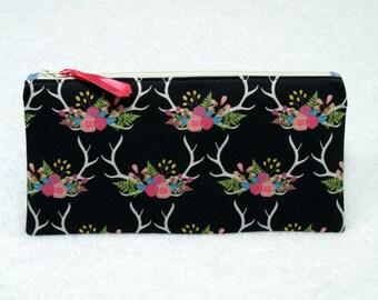 Floral Rustic Deer Antlers Pencil Case~ Zipper Bag