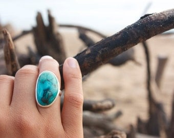 Genuine Turquoise + Sterling Silver Ring with Beaten Band