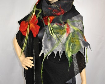Wool painted silk shawl /  Handmade felted scarf /  Wool Scarf / Merino wool 19 Micron/Made to order/ Free shipping.