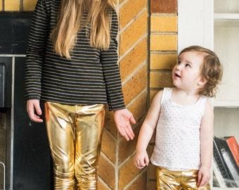 Gold Baby Leggings Gold Sparkle Pants Gold Girls Leggings